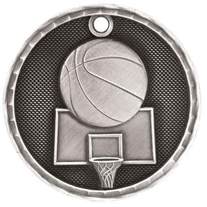 "2"" Antique Silver 3D Basketball Medal"