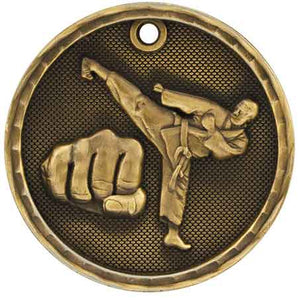 "2"" Antique Gold 3D Martial Arts Medal"