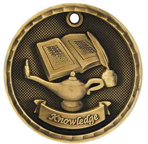 "2"" Antique Gold 3D Lamp of Knowledge Medal"