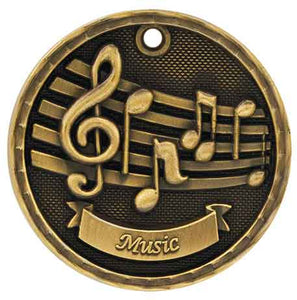 "2"" Antique Gold 3D Music Medal"