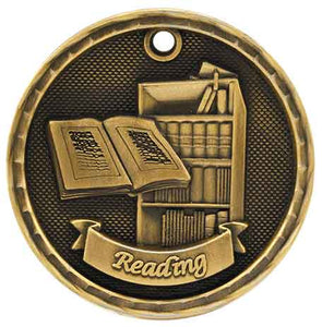 "2"" Antique Gold 3D Reading Medal"