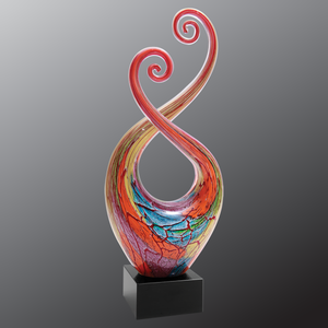 "14"" Multi-Color Twist Art Glass with Black Base"
