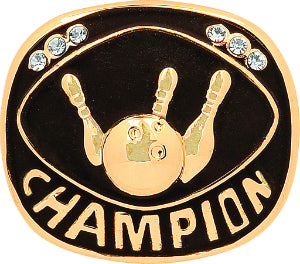 Gold Bowling Champion Ring Insert