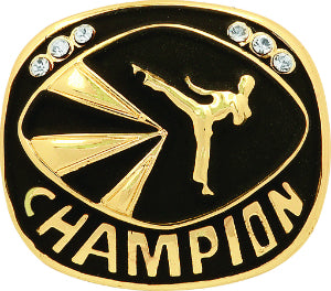 Gold Martial Arts Champion Ring Insert