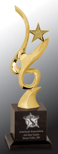 "11 3/4"" Gold Metal Art Crystal Award"