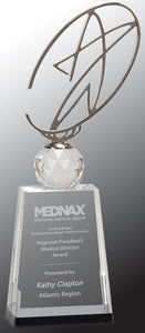 "12"" Clear/Black Crystal Award with Silver Metal Oval Star"