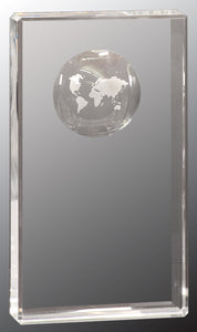 "8"" Clear Crystal Rectangle with Globe Etching"