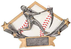 "8 1/2"" x 5 3/4"" Male Baseball Diamond Star Resin"