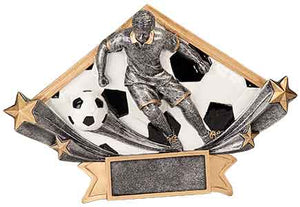 "8 1/2"" x 5 3/4"" Male Soccer Diamond Star Resin"