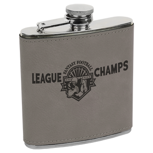 6 oz. Gray Laserable Leatherette Stainless Steel Flask