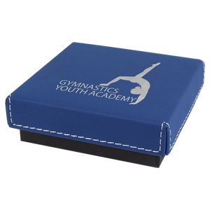 "3 1/2"" x 3 1/2"" Blue/Silver Medal Box with Laserable Leatherette Lid"