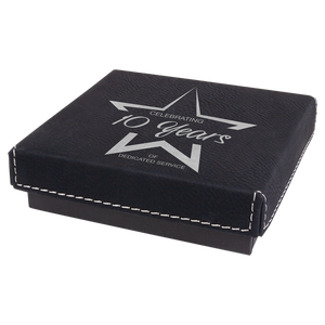 "4"" x 4"" Black/Silver Medal Box with Laserable Leatherette Lid"