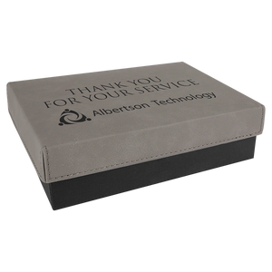 "7 3/8"" x 5 3/4"" Gray Gift Box with Laserable Leatherette Lid"