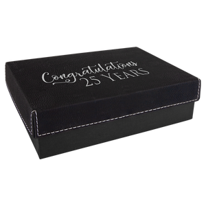 "7 3 8"" x 5 3/4"" Black/Silver Gift Box with Laserable Leatherette Lid"