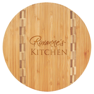 "9 3/4"" Round Bamboo Cutting Board with Butcher Block Inlay"