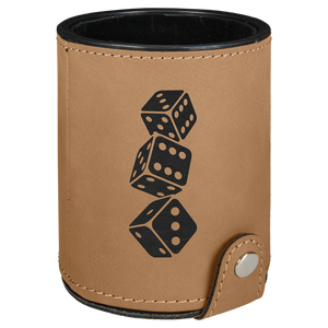 Light Brown Laserable Leatherette Dice Cup with 5 Dice