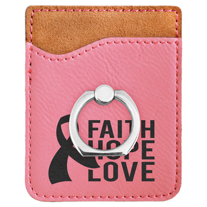 Pink Laserable Leatherette Phone Wallet with Silver Ring