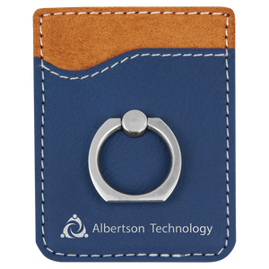 Blue/Silver Laserable Leatherette Phone Wallet with Silver Ring
