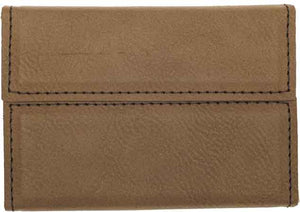 "3 3/4"" x 2 3/4"" Dark Brown Laserable Leatherette Hard Business Card Holder"