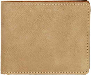"3"" x 4"" Light Brown Laserable Leatherette Trifold Wallet"