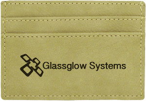 "4"" x 2 3/4"" Light Brown Laserable Leatherette Wallet Clip"