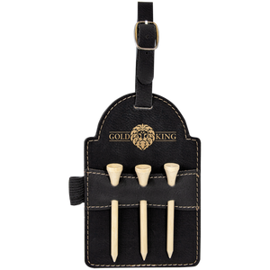 "5"" x 3 1/4"" Black/Gold Laserable Leatherette Golf Bag Tag with 3 Wooden Tees"
