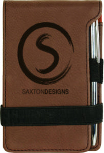 "3 1/4"" x 4 3/4"" Dark Brown Laserable Leatherette Mini Notepad with Pen"