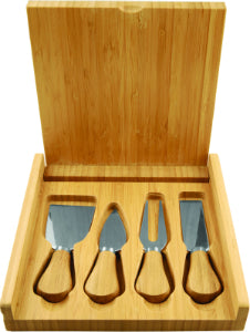 "8"" x 8"" Bamboo Cheese Set with 4 Tools"