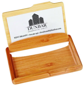 "4 1/4"" x 2 3/4"" Bamboo Business Card Holder"