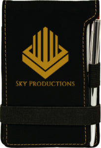 "3 1/4"" x 4 3/4"" Black/Gold Laserable Leatherette Mini Notepad with Pen"