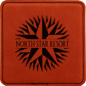"4"" x 4"" Square Rawhide Laserable Leatherette Coaster"