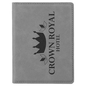 "4 1/4"" x 5 1/2"" Gray Laserable Leatherette Passport Holder"