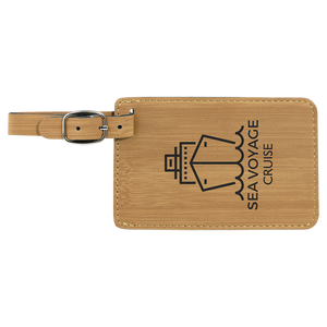"4 1/4"" x 2 3/4"" Bamboo Laserable Leatherette Luggage Tag"