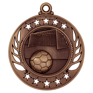 "2 1/4"" Antique Bronze Soccer Galaxy Medal"