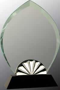 "9"" Oval Horizon Glass with Black Base"