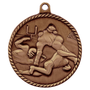 "2"" Antique Bronze Football High Relief Medal"
