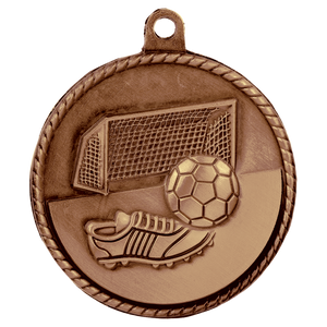 "2"" Antique Bronze Soccer High Relief Medal"
