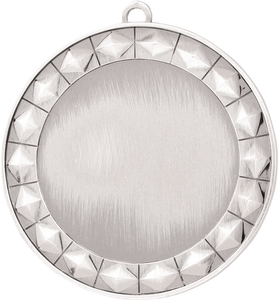 "2 3/4"" Bright Silver Diamond 2"" Insert Holder Medal"