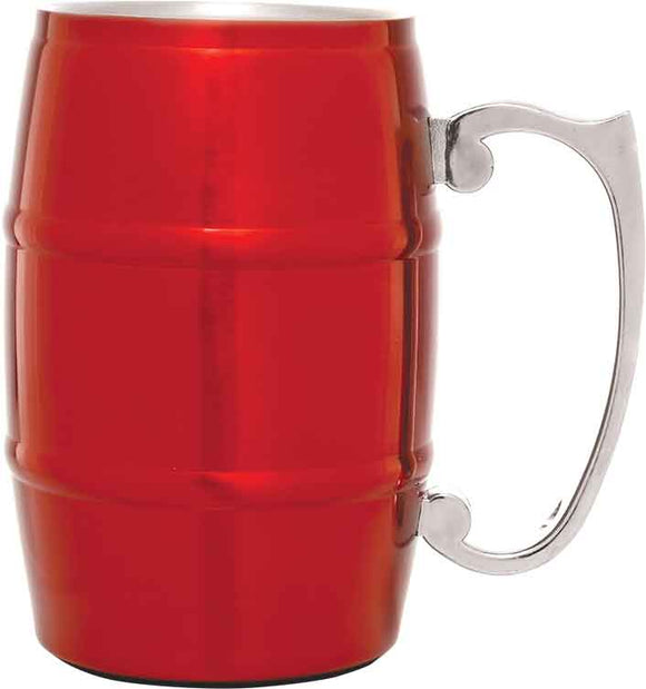 17 oz. Red Stainless Steel Barrel Mug with Handle