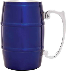 17 oz. Blue Stainless Steel Barrel Mug with Handle