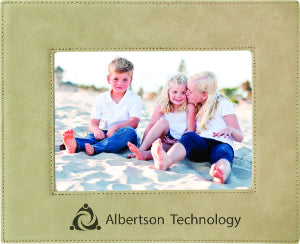 "5"" x 7"" Light Brown Laserable Leatherette Photo Frame"