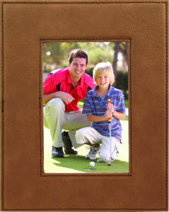 "4"" x 6"" Dark Brown Laserable Leatherette Photo Frame"