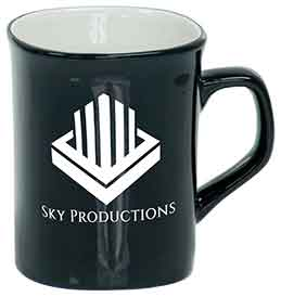 10 oz. Black Ceramic Rounded Corner LazerMug