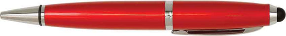 Red with Silver Trim Laserable Pen with Stylus