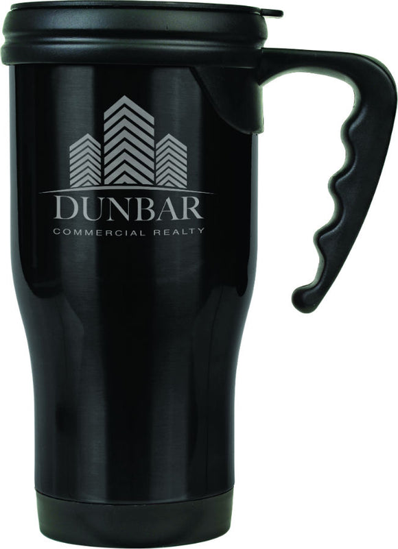 14 oz. Black Laserable Stainless Steel Travel Mug with Handle
