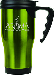 14 oz. Green Laserable Stainless Steel Travel Mug with Handle