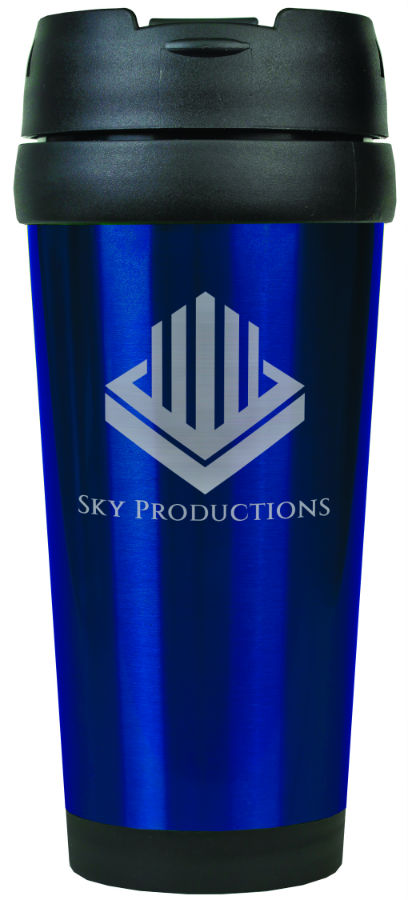 16 oz. Blue Laserable Stainless Steel Travel Mug without Handle