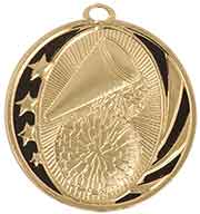 "2"" Bright Gold Cheer Laserable MidNite Star Medal"