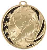 "2"" Bright Gold Soccer Laserable MidNite Star Medal"
