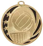 "2"" Bright Gold Volleyball Laserable MidNite Star Medal"